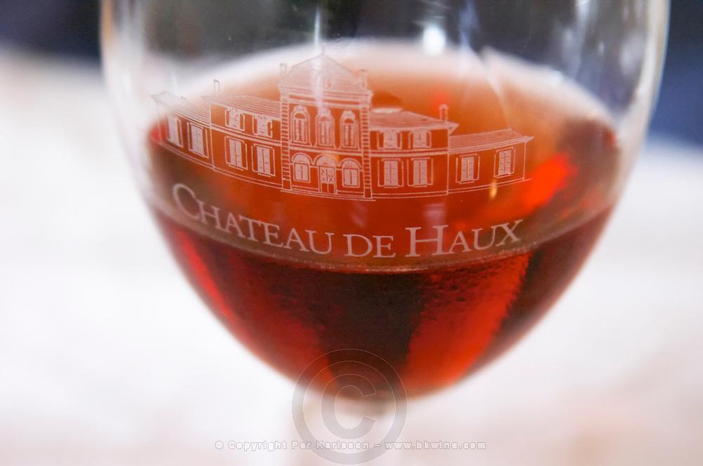 Wine glasses. Chateau de Haux, Bordeaux, France