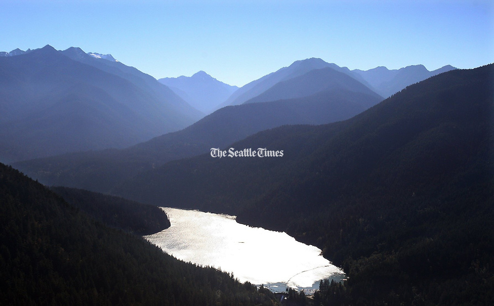 Lake Mills, seen from the air in this photo, was created with the construction of Glines Canyon Dam in 1927. (Steve Ringman / The Seattle Times)