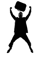 one caucasian business man happy joyful jumping  in silhouette on white background