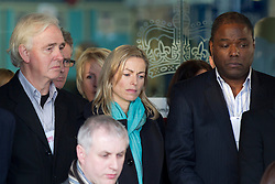 © Licensed to London News Pictures. 29/11/2012. London, UK. Kate McCann (centre, turquoise scarf), the mother of Madeleine McCann is seen outside the Queen Elizabeth Conference Centre in London today (29/11/12) with other members of the 'Hacked Off' campaign group after hearing the results of Lord Leveson's inquiry into the British media. Photo credit: Matt Cetti-Roberts/LNP