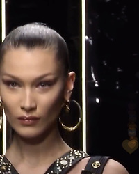 """Bella Hadid releases a photo on Instagram with the following caption: """"\ud83d\udda4Versace\ud83d\udda4"""". Photo Credit: Instagram *** No USA Distribution *** For Editorial Use Only *** Not to be Published in Books or Photo Books ***  Please note: Fees charged by the agency are for the agency's services only, and do not, nor are they intended to, convey to the user any ownership of Copyright or License in the material. The agency does not claim any ownership including but not limited to Copyright or License in the attached material. By publishing this material you expressly agree to indemnify and to hold the agency and its directors, shareholders and employees harmless from any loss, claims, damages, demands, expenses (including legal fees), or any causes of action or allegation against the agency arising out of or connected in any way with publication of the material."""