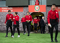 NEWPORT, WALES - Tuesday, October 16, 2018: Wales' Keston Davies arrives ahead of the UEFA Under-21 Championship Italy 2019 Qualifying Group B match between Wales and Switzerland at Rodney Parade. (Pic by Laura Malkin/Propaganda)