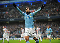 Fotball<br /> England<br /> Foto: Colorsport/Digitalsport<br /> NORWAY ONLY<br /> <br /> 05.02.2011<br /> Carlos Tevez Celebrates Scoring his 3rd goal<br /> Manchester City 2010/11<br /> Manchester City V West Bromwich Albion 05/02/11 <br /> The Premier League