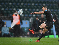 Rugby Union - 2019 / 2020 Gallagher Premiership - Final - Wasps vs Exeter Chiefs - Twickenham<br /> <br /> Exeter Chiefs' Joe Simmonds kicks a penalty.<br /> <br /> COLORSPORT/ASHLEY WESTERN