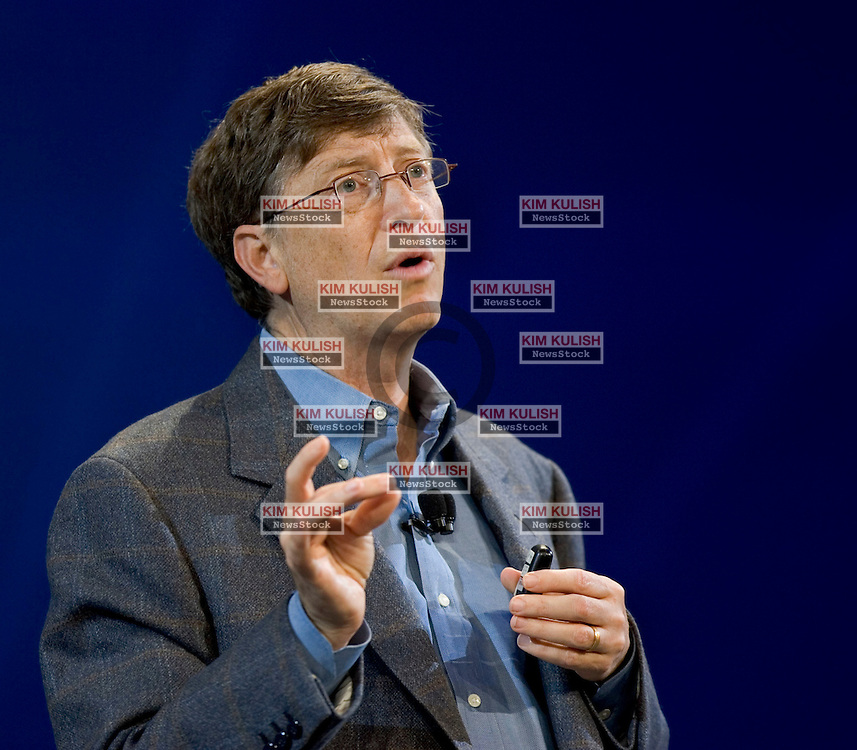 Microsoft Corp. Chairman Bill Gates announces a new version of Microsoft Internet Explorer for Windows XP and that Microsoft would include Windows AntiSpyware technology at no extra charge, during his keynote address at RSA Conference 2005 in San Francisco, Tuesday, Feb. 15, 2005. The two new enhancements will lead to safer Web browsing according to Gates.  Photo By Kim Kulish