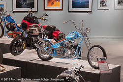 Mondo Porras' custom S&S KN93 Knucklehead tribute to Indian Larry on display in the More Mettle - Motorcycles and Art That Never Quit exhibition in the Buffalo Chip Events Center Gallery during the Sturgis Motorcycle Rally. SD, USA. Thursday, August 12, 2021. Photography ©2021 Michael Lichter.