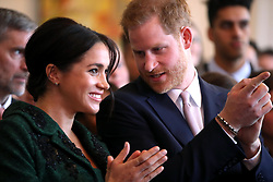The Duke and Duchess of Sussex during a visit to Canada House in London for a Commonwealth Day youth event celebrating the diverse community of young Canadians living in London and around the UK.