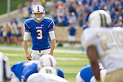 Dec 1, 2012; Tulsa, Ok, USA; Tulsa Hurricanes place kicker Daniel Schwarz (3) looks to kick during a game against the University of Central Florida Knights at Skelly Field at H.A. Chapman Stadium. Tulsa defeated UCF 33-27 in overtime to win the CUSA Championship. Mandatory Credit: Beth Hall-USA TODAY Sports