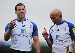 Referee Karl Dickson refers to the big screen before making a decision on a Sale Sharks try during the Aviva Premiership match at Sandy Park, Exeter.