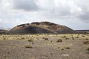 Typical volcanic landscape of Lanzarote, Volcan El Cuervo, Canary Islands, Spain