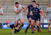 Wasps No.8 Alfie Barbeary breaks past Sale Sharks fly-half AJ McGinty during the Gallagher Premiership Rugby match Sale Sharks -V- Wasps  at The AJ Bell Stadium, Greater Manchester, England United Kingdom, Sunday, December 27, 2020. (Steve Flynn/Image of Sport)