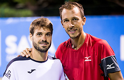 Gerard Granollers (ESP) and Lukas Rosol (CZE) after they won doubles Semifinal during Day 7 at ATP Challenger Zavarovalnica Sava Slovenia Open 2018, on August 9, 2018 in Sports centre, Portoroz/Portorose, Slovenia. Photo by Vid Ponikvar / Sportida