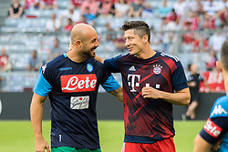 August 2, 2017 - Munich, Germany - Pepe Reina goalkeeper of Naples talks with Bayern Munich's Polish striker Robert Lewandowski during the Audi Cup 2017 match between SSC Napoli v FC Bayern Muenchen at Allianz Arena on August 2, 2017 in Munich, Germany. (Credit Image: © Paolo Manzo/NurPhoto via ZUMA Press)