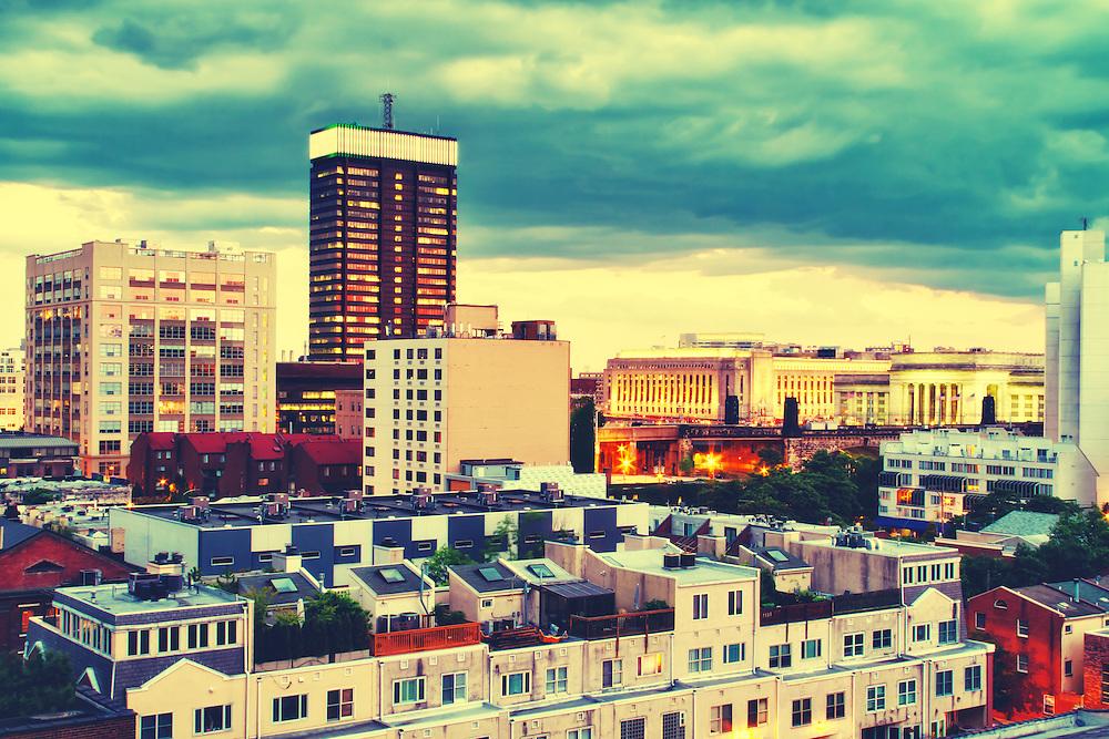 Skyline view of Center City, Philadelphia, PA, USA.