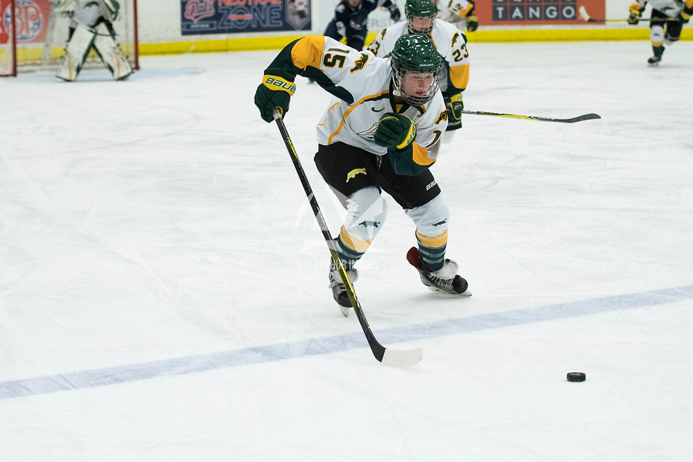 2nd year forward Sam Geekie (15) of the Regina Cougars in action during the Women's Hockey home game on October 13 at Co-operators arena. Credit: Arthur Ward/Arthur Images