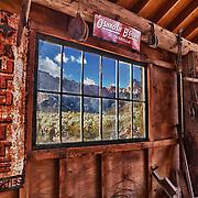 Barn Interior And Old Pane Glass Window View - Eldorado Canyon - Nelson NV - HDR