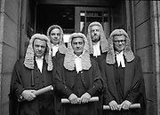"New members of the ""Bar"".     (N44)..1980..06.10.1980..10.06.1980..6th October 1980..Today at The Four Courts saw the calling to the bar of, (L-R).Mr Paul Carney,Rathmines, Dublin, Mr Peter Sutherland,Blackrock, Dublin,Mr John D Cooke,Churchtown,Dublin, Mr David Montgomery,Blackrock, Dublin, and Mr Eoghan Fitzsimons Howth, Dublin."