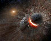 Artist concept showing a massive collision of objects perhaps as large as the planet Pluto smashed together to create the dust ring around the nearby star Vega. New observations from NASA's Spitzer Space Telescope indicate the collision took place within the last one million years. Astronomers think that embryonic planets smashed together, shattered into pieces, and repeatedly crashed into other fragments to create ever finer debris. In the image, a collision is seen between massive objects that measured up to 2,000 kilometres (about 1,200 miles) in diameter.