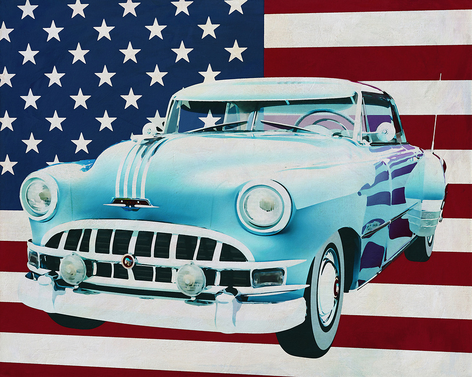 Pontiac released several versions of the Chieftain including here the Pontiac Chieftain Hard Top with accompanying Casket; The Pontiac Chieftain Hard Top with Casket was hugely popular in the 50's of last century and this not only because of its reliability but also because of its enormous appearance.<br /> <br /> This painting of the Pontiac Chieftain with Hard Top and Casket , built in 1950, with the American flag in the background can be purchased in various sizes and printed on canvas as well as wood and metal. You can also have the painting finished with an acrylic plate over it which gives it more depth. -<br /> -<br /> BUY THIS PRINT AT<br /> <br /> FINE ART AMERICA<br /> ENGLISH<br /> https://janke.pixels.com/featured/pontiac-chieftain-hard-top-with-casket-1950-with-flag-of-the-usa-jan-keteleer.html<br /> <br /> <br /> WADM / OH MY PRINTS<br /> DUTCH / FRENCH / GERMAN<br /> https://www.werkaandemuur.nl/nl/shopwerk/Pontiac-Chieftain-Hard-Top-met-casket-1950-met-vlag-van-de-V-S-/665484/132?mediumId=1