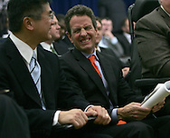 Secretary of the Treasury Tim Geithner and Secretary of Commerce Gary Locke at  the opening session of the White House jobs summit on December 3. 2009.   photo by Dennis Brack