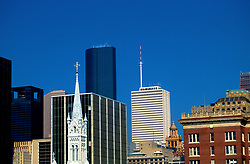 Stock photo of the tops of skyscrapers in downtown Houston, Texas
