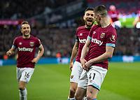 Football - 2018 / 2019 Premier League - West Ham United vs. Newcastle United<br /> <br /> Robert Snodgrass (West Ham United) celebrates with goalscorer Declan Rice (West Ham United) at the London Stadium<br /> <br /> COLORSPORT/DANIEL BEARHAM