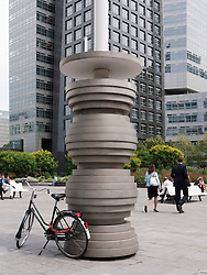 modern art sculpture in square at new business district at Amsterdam Zuid in The Netherlands