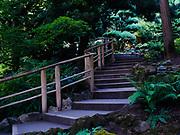 Walkway in the Japanese Garden, Butchart Gardens near Victoria, British Columbia, Canada.