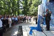 """Venice, Italy - 15th Architecture Biennale 2016, """"Reporting from the Front"""".<br /> Giardini.<br /> Opening Ceremony of Netherlands Pavilion.<br /> BLUE: Architecture of U.N. Peacekeeping Missions.<br /> Dutch Defense Minister speaking."""
