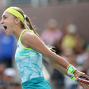 2017 U.S. Open - August 28. DAY ONE. Aleksandra Krunic of Serbia celebrates her win against Johanna Konta of Great Britain during the Women's Singles round one match at the US Open Tennis Tournament at the USTA Billie Jean King National Tennis Center on August 28, 2017 in Flushing, Queens, New York City.  (Photo by Tim Clayton/Corbis via Getty Images)
