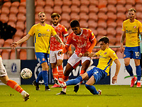 Football - 2021 / 2022 EFL Carabao Cup - Round Two - Blackpool vs. Sunderland -Bloomfield Road - Tuesday 24th August 2021<br /> <br /> Niall Huggins of Sunderland, making his debut after signing from Leeds United, takes the ball off Tyreece John-Jules  of Blackpool, at Bloomfield Road.<br /> <br /> COLORSPORT/Alan Martin