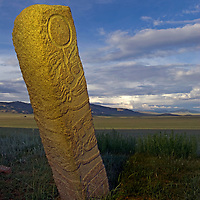 A 2700+ year-old, bronze age Deer Stone at Ulaan Tolgai, near Lake Erkhel & Muren, Mongolia.