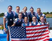 Poznan, POLAND, 23rd June 2019, Sunday,  USA W8+ Silver Medalist, USA USA W8- Bow, Kristine O'BRIEN, Meghan MUSNICKI, Brooke MOONEY, Gia DOONAN, Dana MOFFAT, Felice MUELLER, Erin REELICK, stroke, Olivia<br /> COFFEY, Cox Katelin GUREGIAN, FISA World Rowing Cup II, Malta Lake Course, © Peter SPURRIER/Intersport Images, <br /> <br /> 15:09:41