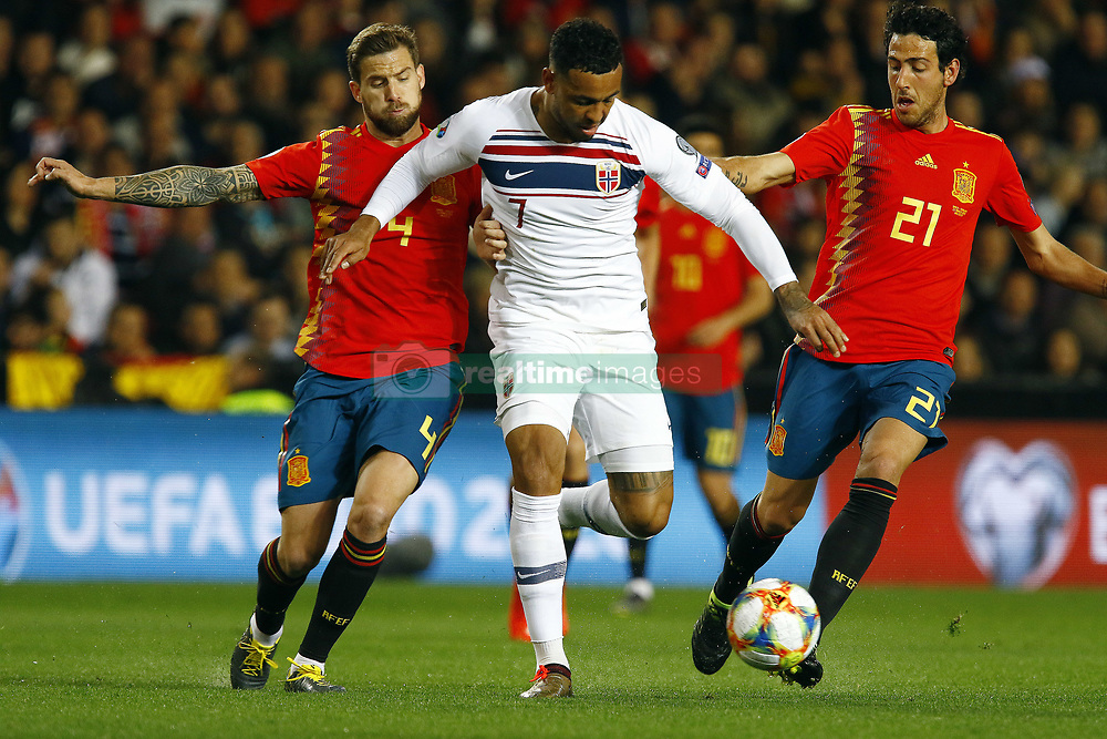 March 23, 2019 - Valencia, Community of Valencia, Spain - Spain's Inigo Martinez, Norway's Joshua King and Spain's Daniel Parejo seen in action during the Qualifiers - Group B to Euro 2020 football match between Spain and Norway in Valencia, Spain. Spain beat Norway, 2-1 (Credit Image: © Manu Reino/SOPA Images via ZUMA Wire)