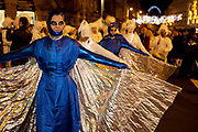 "Brighton, UK. Friday 21st December 2012. Burning the Clocks has been a Brighton tradition for almost two decades. This event takes place on the winter solstice, the shortest day of the year. A 2,000-strong parade winds its way through the streets and people pass their handmade paper and willow lanterns – filled symbolically with their hopes and dreams – into a blazing bonfire to ""burn the clocks"" and welcome in the new longer day."