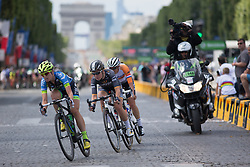 With two laps to go, as small group tries to break away during the La Course, a 89 km road race in Paris on July 24, 2016 in France.