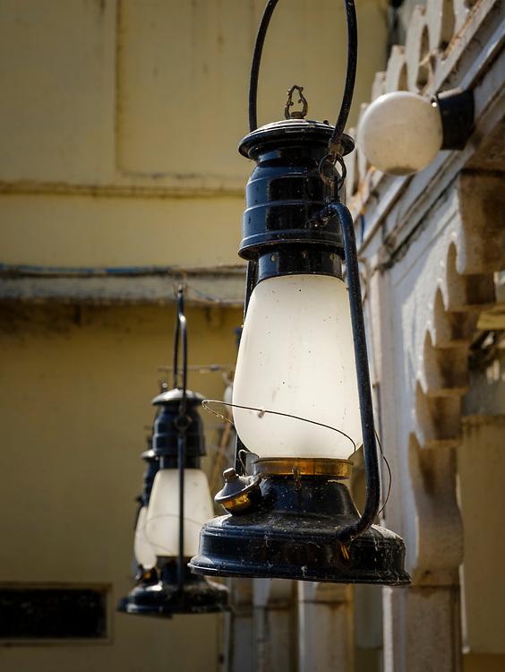 UDAIPUR, INDIA - CIRCA NOVEMBER 2016: Detail of decorative lanterns in Jagmandir a luxury hotel in Lake Pichola, Udaipur