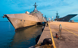 CHANGI, Singapore (May 13, 2017) The littoral combat ship USS Coronado (LCS 4) moors in Changi, Singapore, in preparation for the International Maritime Defense Exhibition. Coronado is on a rotational deployment in U.S. 7th Fleet area of responsibility, patrolling the region's littorals and working hull-to-hull with partner navies to provide 7th Fleet with the flexible capabilities it needs now and in the future. (U.S. Navy photo by Mass Communication Specialist 3rd Class Deven Leigh Ellis/Released) 170513-N-PD309-057 <br /> Join the conversation:<br /> http://www.navy.mil/viewGallery.asp<br /> http://www.facebook.com/USNavy<br /> http://www.twitter.com/USNavy<br /> http://navylive.dodlive.mil<br /> http://pinterest.com<br /> https://plus.google.com