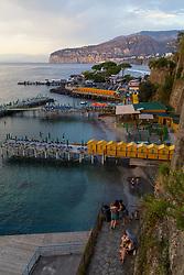Sorrento, Italy, September 16 2017. Bathing huts on jetties  in Marina Santo Francesco in Sorrento, Italy. © Paul Davey