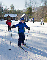 Blake and Derek Pappaceno take a few laps with the Alton Central School cross country team on Thursday afternoon at Gunstock.  (Karen Bobotas/for the Laconia Daily Sun)