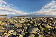 Low tide and evening light on Bishop's Beach in Homer in Southcentral Alaska. Summer.