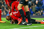 Watford Goalkeeper Heurelho Gomes (on ground) looks dazed with a cut to his face. Premier league match, Everton vs Watford at Goodison Park in Liverpool, Merseyside on Sunday 5th November 2017.<br /> pic by Chris Stading, Andrew Orchard sports photography.