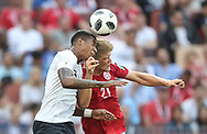 Presnel Kimpembe of France and Andreas Cornelius of Denmark during the 2018 FIFA World Cup Russia, Group C football match between Denmark and France on June 26, 2018 at Luzhniki Stadium in Moscow, Russia- Photo Tarso Sarraf / FramePhoto / ProSportsImages / DPPI