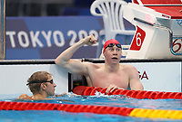 TOKYO, JAPAN - JULY 27: Tom Dean of Great Britain reacts after winning the Men's 200m Freestyle final on day four of the Tokyo 2020 Olympic Games at Tokyo Aquatics Centre on July 27, 2021 in Tokyo, Japan. <br /> <br /> Credit: COLORSPORT/Ian MacNicol