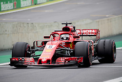 November 9, 2018 - Sao Paulo, Sao Paulo, Brazil - SEBASTIAN VETTEL, of Scuderia Ferrari, drives during the free practice session for the Formula One Grand Prix of Brazil at Interlagos circuit, in Sao Paulo, Brazil. The grand prix will be celebrated next Sunday, November 11. (Credit Image: © Paulo LopesZUMA Wire)