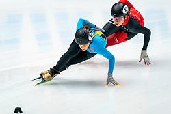 Hanne Desmet BEL in action on the 1000 meter during ISU World Cup Finals Shorttrack 2020 on February 14, 2020 in Optisport Sportboulevard Dordrecht.