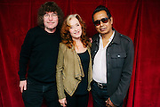 Bonnie Raitt with Alejandro Escovedo and Terry Currier, owner of Music Millennium in Portland, Oregon on April 16, 2016 (Record Store Day). The store hosted a meet-and-greet with Ms. Raitt in support of Oregon Music Hall Of Fame's 'Music In The Schools' Program.
