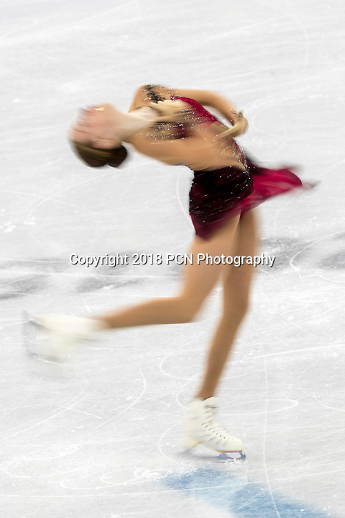 Blur motion action of Anita Östlund (SWE) competing in the Figure Skating - Ladies' Short at the Olympic Winter Games PyeongChang 2018
