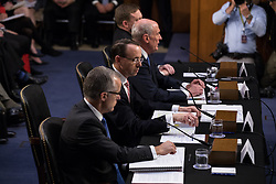 June 7, 2017 - Washington, United States - (l-r), Acting FBI Director Andrew McCabe, Deputy Attorney General Rod Rosenstein,   Director of National Intelligence Dan Coats, and National Security Agency Director Adm. Mike Rogers, testified in front of the Senate Intelligence Committee, ahead of former FBI Director James Comey's testimony tomorrow, in the Senate Hart building on Capitol Hill, on Wednesday, June 7, 2017. (Credit Image: © Cheriss May/NurPhoto via ZUMA Press)