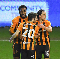 Hull City's Mallik Wilks is congratulated on his hat trick<br /> <br /> Photographer Dave Howarth/CameraSport<br /> <br /> The EFL Sky Bet League One - Wigan Athletic v Hull City - Wednesday 17th February 2021 - DW Stadium - Wigan<br /> <br /> World Copyright © 2021 CameraSport. All rights reserved. 43 Linden Ave. Countesthorpe. Leicester. England. LE8 5PG - Tel: +44 (0) 116 277 4147 - admin@camerasport.com - www.camerasport.com